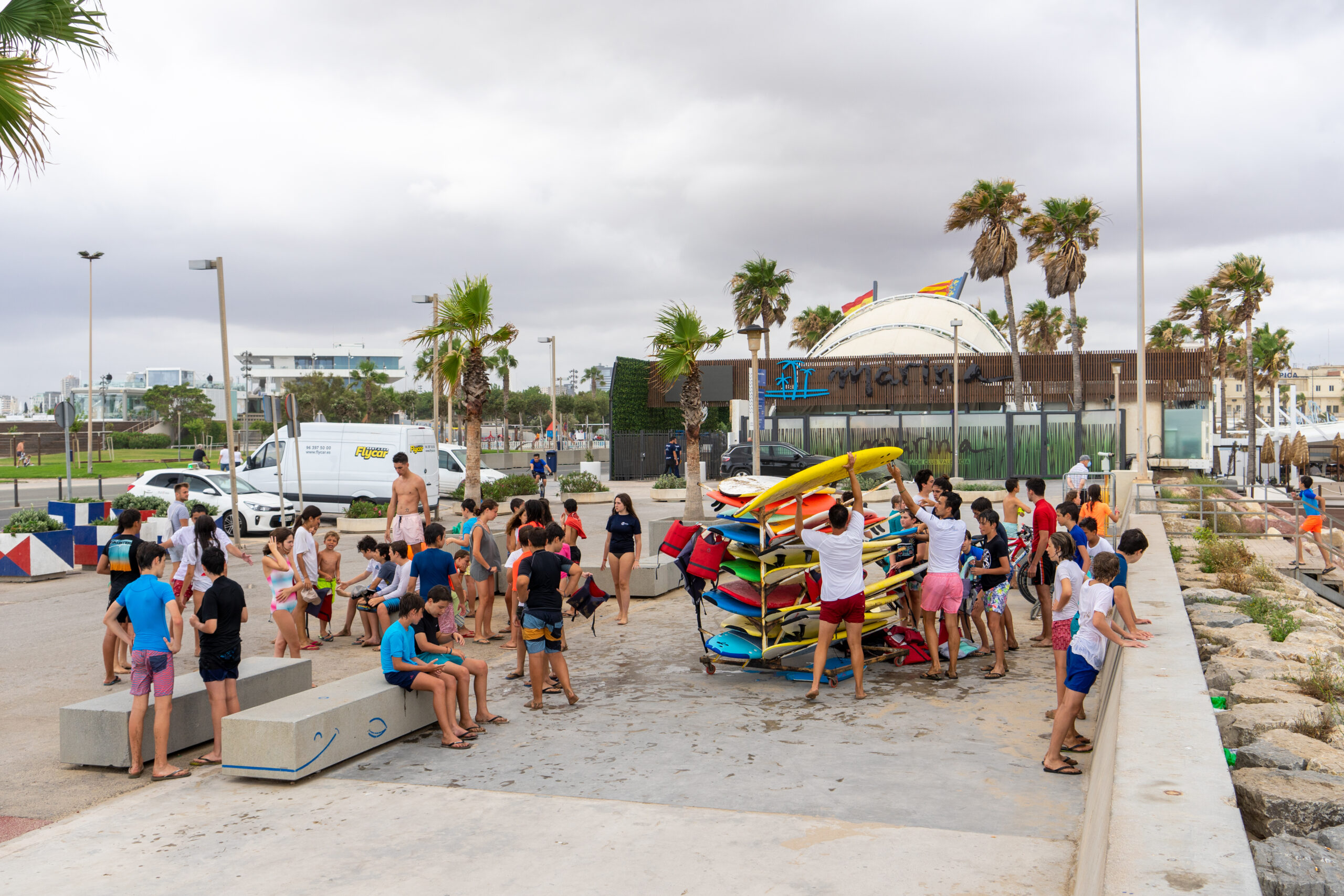 VALENCIA, SPAIN - Jun 21, 2020: group of people doing sports